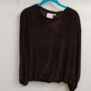 Dantelle Black Velvet Elastic Waist Top in Size L